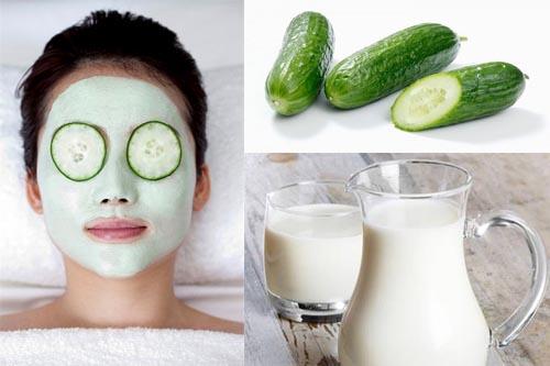 Cách trị nám da mặt bằng thiên nhiên từ dưa chuột và sữa tươi